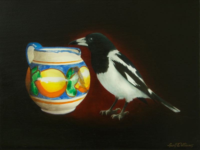 Pied Butcherbird - 2010 Oils on Red Cedar